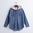 Hang Ten - 女裝 - 刷色連帽牛仔外套-藍色