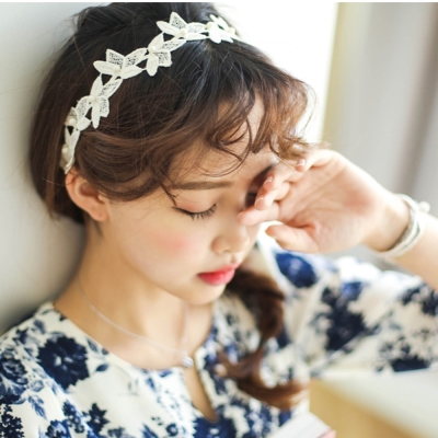 梨花HaNA-日本溫柔手感白色緹花蕾絲髮帶
