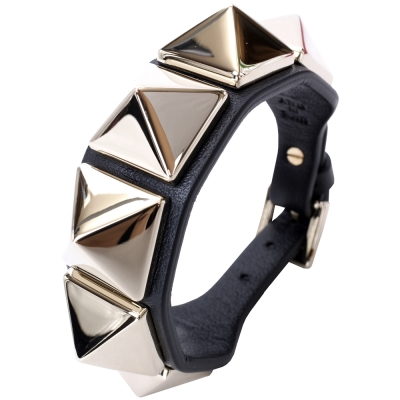 VALENTINO MACRO STUD 鉚釘小牛皮手環(黑色)