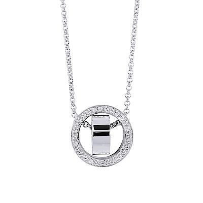 SWAROVSKI 施華洛世奇 雙圓環鏤空浮動亮鑽銀色項鍊