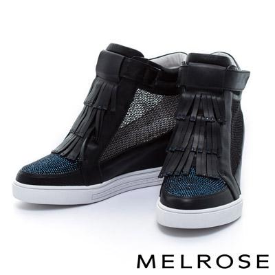 MELROSE-異材質拼接流蘇晶鑽內增高牛皮厚底休