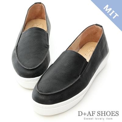 D+AF 輕快步伐.MIT立體縫線厚底懶人鞋*黑