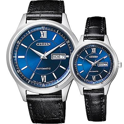 CITIZEN星辰 爵士機械對錶(NY4050-03L+PD7150-03L)