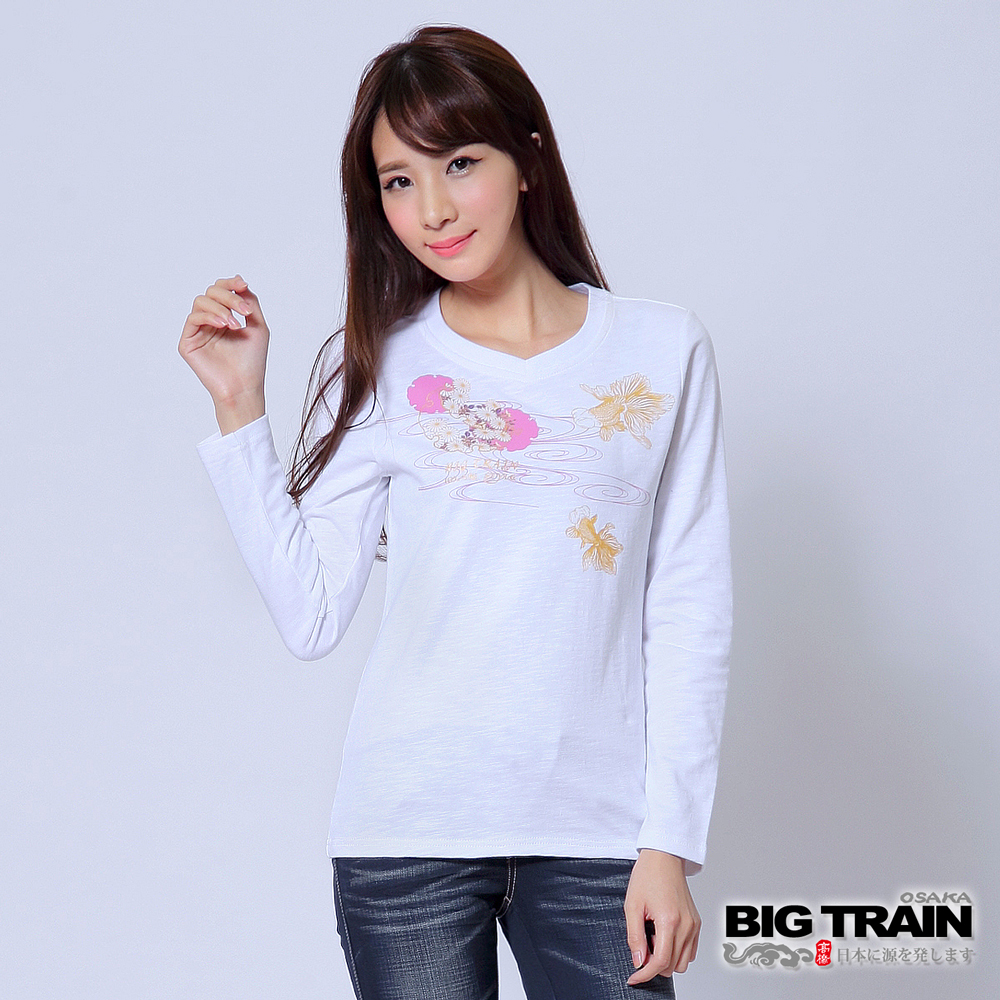 BIG TRAIN 雪輪和柄金魚印花TEE-女-白色
