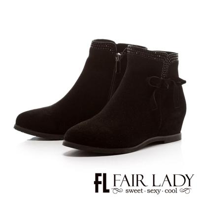 Fair Lady 優雅主題鑽貼麂皮內增短靴 黑