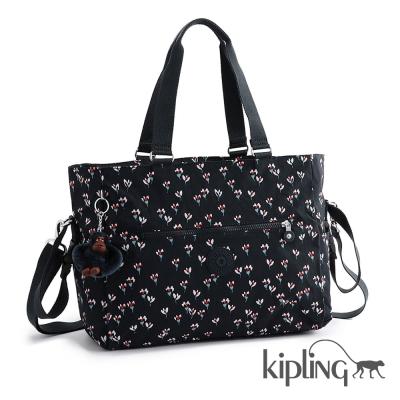Kipling 斜背包 愛心花卉印花-大