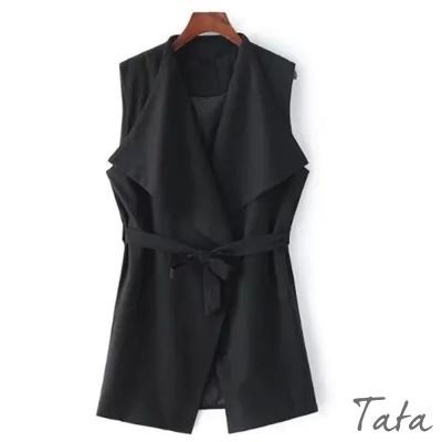 長版開襟綁帶背心-共二色-TATA