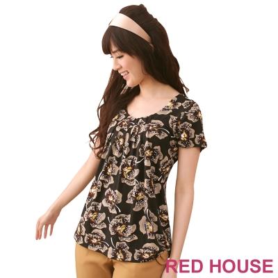 RED-HOUSE-蕾赫斯-圓領花朵印花氣質上衣-共2色