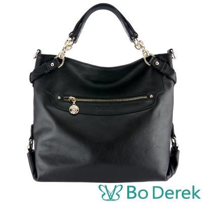 Bo Derek 納帕牛皮微笑二號手提斜背兩用包-黑色