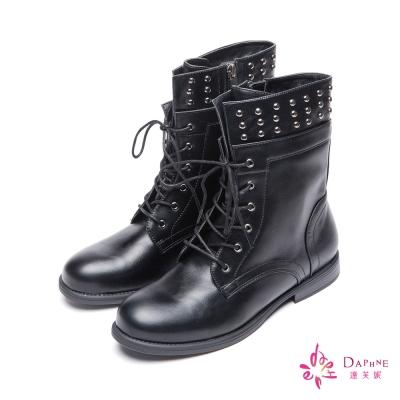 達芙妮DAPHNE-中性風格個性金屬鉚釘綁帶軍靴