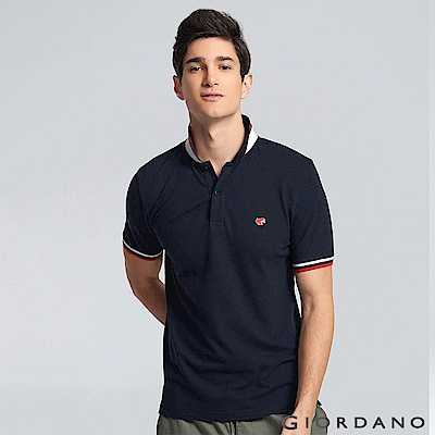 GIORDANO 男裝青蛙圖案素色POLO衫-78 標誌黑