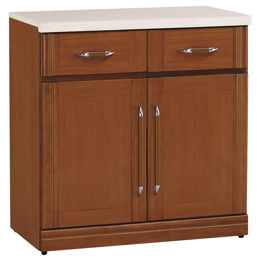 時尚屋 楓原樟木色2.7尺石面碗碟櫃