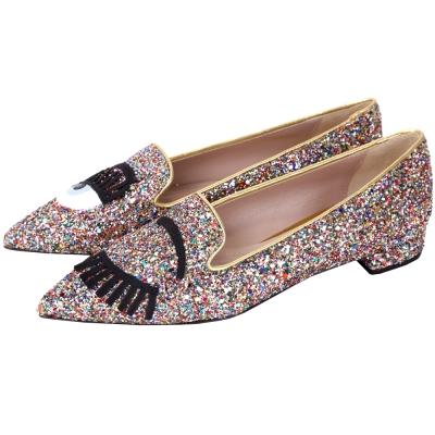 Chiara Ferragni Flirting 眨眼圖案新版彩色亮片尖頭鞋