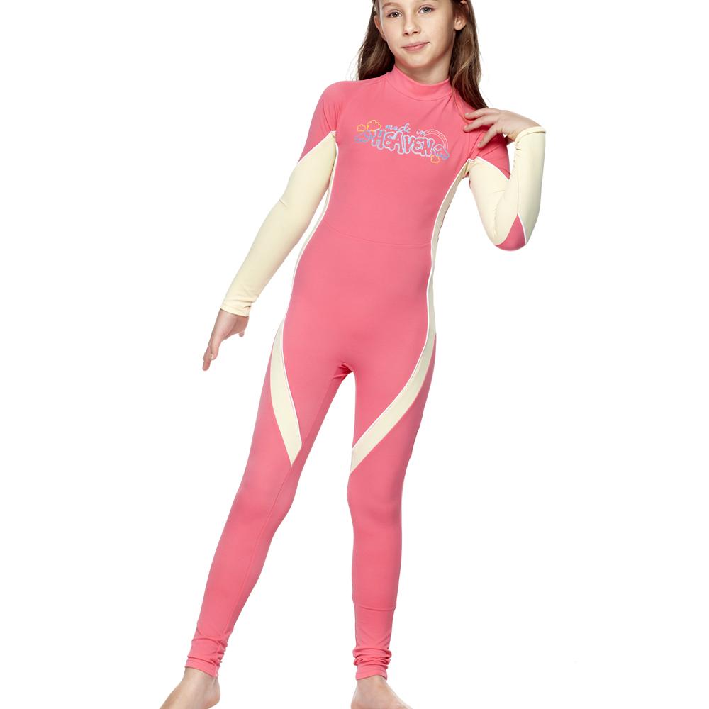聖手牌 粉色雙斜紋兒童長袖連身水母衣