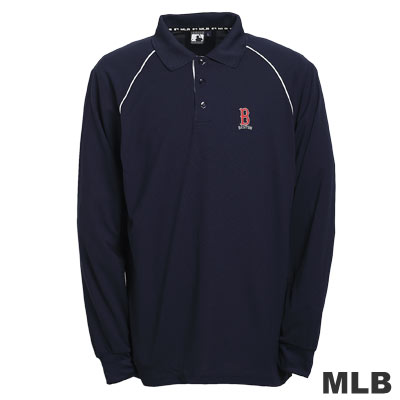 MLB-波士頓紅襪隊LOGO排汗POLO衫-深藍(男)