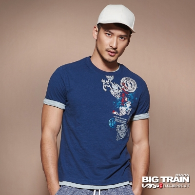 BIG TRAIN中大尺碼 加大唐獅海濤圓領T-男-深藍
