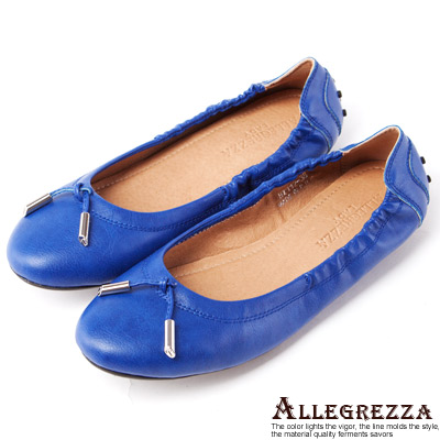 ALLEGREZZA-LADY系列-素面繩結金屬飾釦豆豆平底鞋-深藍