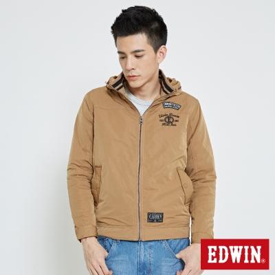 EDWIN 浮羽纖立領防寒外套-男-灰褐色