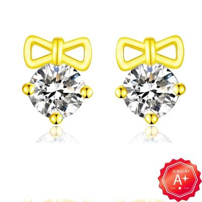 A+ 蝴蝶結晶鑽黃金耳環