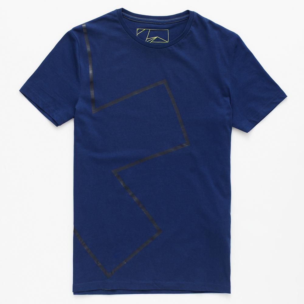 celio* 百搭耐看幾何圖形短袖T恤 -男款-藍色