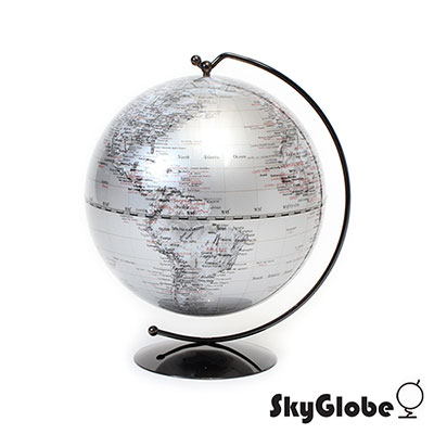 Skyglobe 5吋銀色手臂時尚地球儀(英文版)