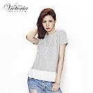 Victoria 印條異材質拼接短袖-女-淺麻灰底白條