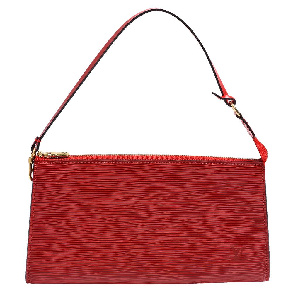 LV M5294E EPI水波紋金釦手提/手拿晚宴包(紅)LV路易威登