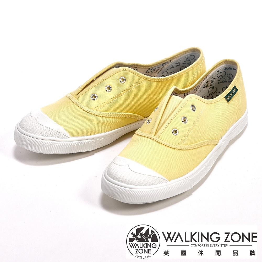 WALKING ZONE 輕盈素面懶人帆布休閒走路鞋女鞋-黃