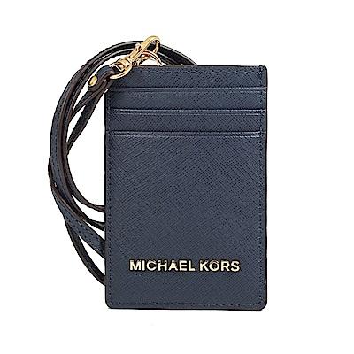 MICHAEL KORS  防刮皮革金字證件票卡夾(深藍)