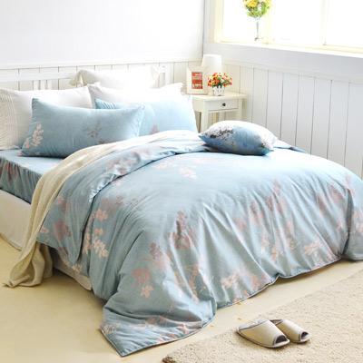 美夢元素 天鵝絨單人三件式 全鋪棉兩用被床包組-飄絮