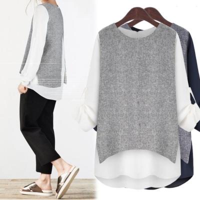 中大尺碼-假二件雪紡袖釦拼接西裝料接色洋裝XL-4L-Ballet-Dolly