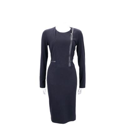 Max Mara 深藍色拉鍊設計長袖羊毛洋裝(100%WOOL)
