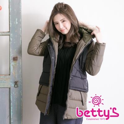 betty's貝蒂思 雙色拼接鋪棉毛毛連帽大衣(黑色)