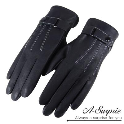 A-Surpriz-時尚騎士扣環男用霧面觸控皮手套-黑