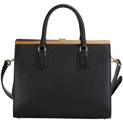 DOLCE & GABBANA Sofia Bag 壓紋牛皮兩用提包(黑色)