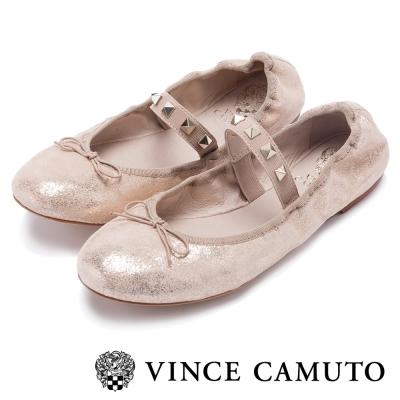 VINCE CAMUTO 個性甜美 真皮美型鉚釘娃娃平底鞋-金色