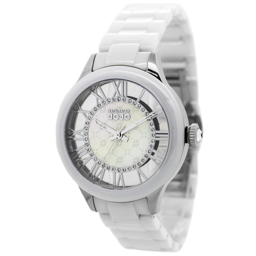 NATURALLY JOJO 戀愛頻率鏤空陶瓷腕錶-白/38mm