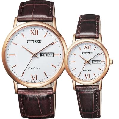 CITIZEN星辰 光動能新時代對錶-玫瑰金框x咖啡/37+27mm