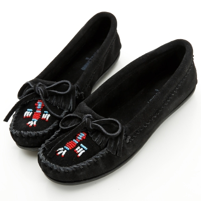 MINNETONKA 黑色麂皮串珠小雷鳥莫卡辛 女鞋 (展示品)