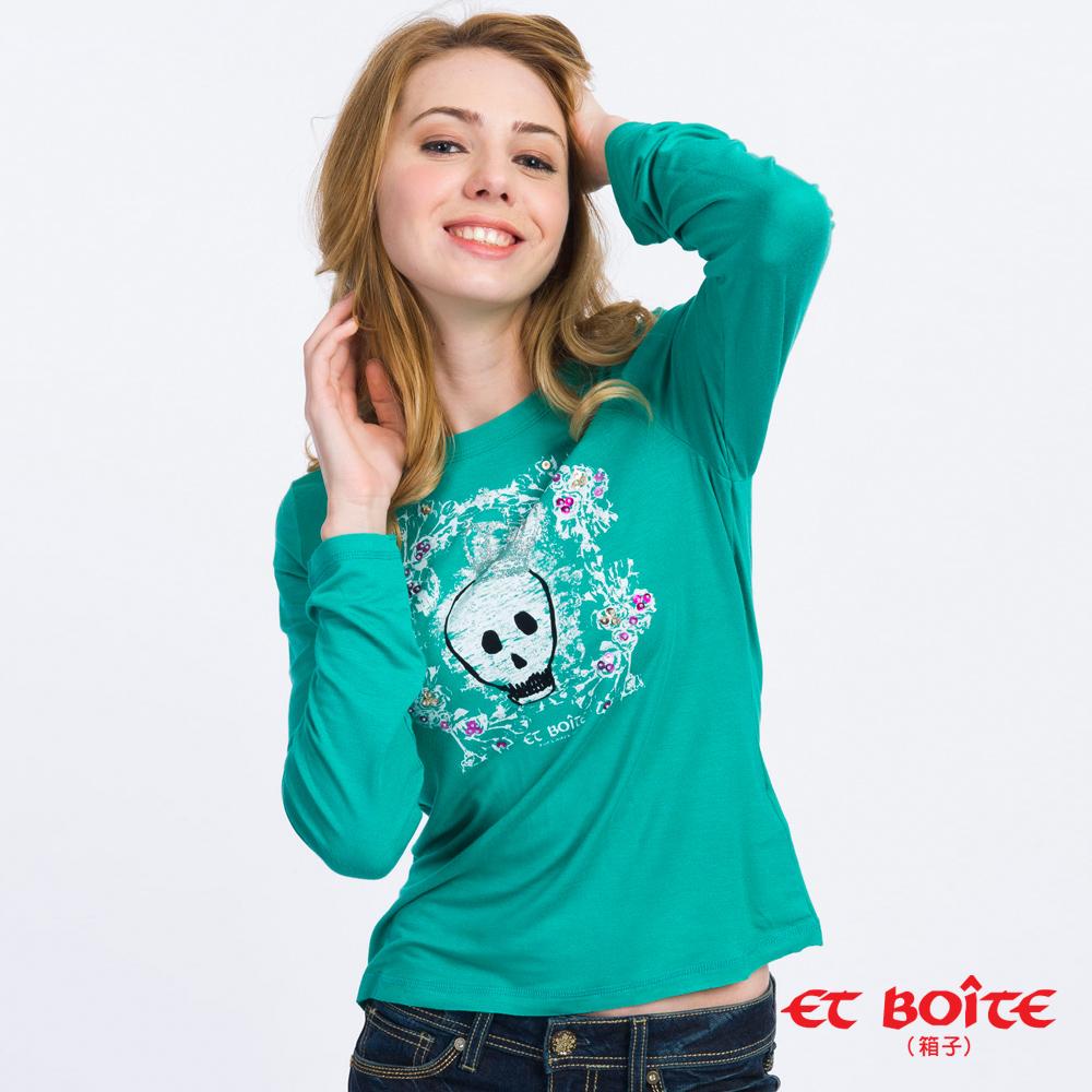 ETBOITE 箱子 BLUE WAY 皇冠骷髏頭長袖T恤-綠