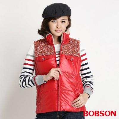 BOBSON-女款亮蔥毛線絲棉背心-紅13