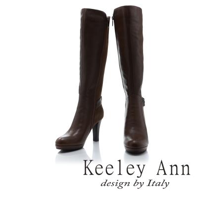 Keeley Ann 高貴典雅~異質拼接皮帶飾釦真皮高跟長靴(棕色)