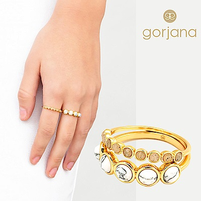 GORJANA Gypset 白紋石戒指 x 灰瑪瑙戒指 套組 可分開配戴