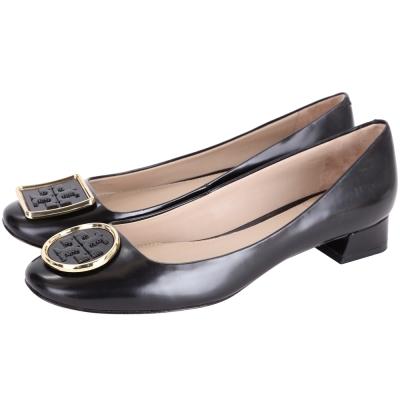 TORY BURCH Twiggie 不對稱金屬邊框皮革粗跟鞋(黑色)