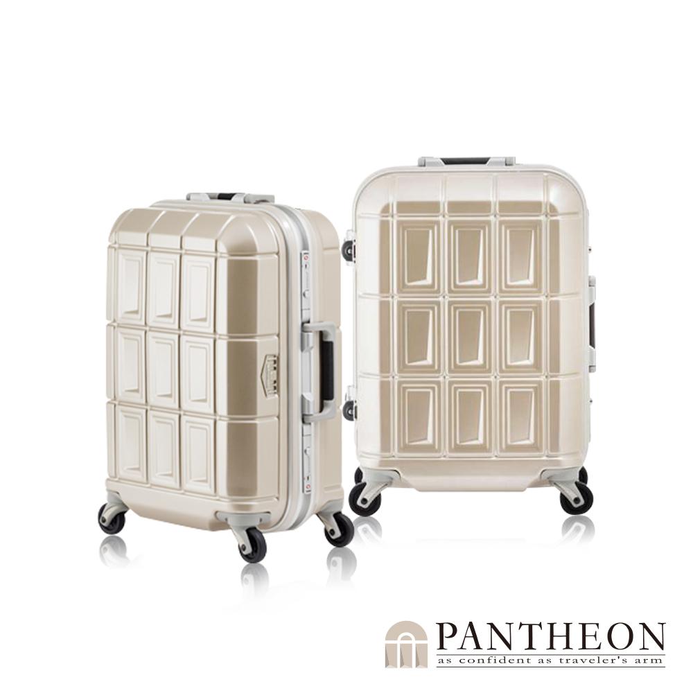 日本PANTHEON 19吋 霧面香檳金拉絲  網美行李箱 輕量鋁框登機箱
