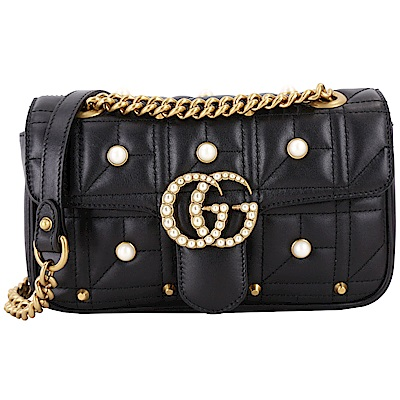 GUCCI GG Marmont 珍珠鑲嵌絎縫牛皮鍊帶兩用包(黑色)