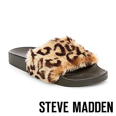 STEVE MADDEN-SOFTEY 毛絨一字拖-豹紋