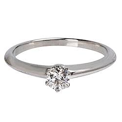 Tiffany&Co. PT950圓型六爪0.18克拉鑽石戒指(#6)