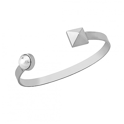Majorica西班牙珠寶 個性鉚釘珍珠手環 銀色