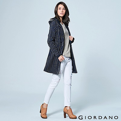 GIORDANO 女裝保暖搖粒絨內裡中長版連帽外套 - 66 標誌海軍藍/皎雪